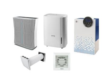 Vlažilniki, razvlažilniki, čistilniki zraka in kopalniški ventilatorji